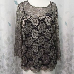 Talbots Gold Sheer Blouse with Cami Size 10